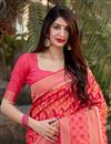 photo of Pink Color Party Wear Trendy Art Silk Weaving Work Saree