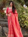 image of Pink Color Party Wear Trendy Art Silk Weaving Work Saree