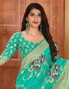 photo of Cyan Color Party Style Classic Art Silk Fabric Weaving Work Saree