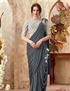image of Grey Fancy Fabric Embroidery Work Designer Wedding Wear Indowestern One Minute Fusion Saree