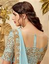 photo of Fancy Fabric Light Cyan Embroidery Work Party Wear Indowestern One Minute Fusion Trendy Saree