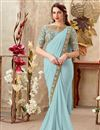 image of Fancy Fabric Light Cyan Embroidery Work Party Wear Indowestern One Minute Fusion Trendy Saree