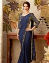 image of Navy Blue Fancy Fabric Reception Wear Indowestern One Minute Fusion Saree With Work