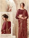 image of Embroidery Work On Reception Wear Indowestern One Minute Fusion Saree In Maroon Fancy Fabric