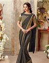 image of Sangeet Wear Dark Brown Indowestern One Minute Fusion Saree In Fancy Fabric With Work