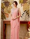image of Designer Indowestern One Minute Fusion Saree In Fancy Fabric Pink With Embroidery
