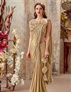 image of Fancy Fabric Party Wear Embroidered Indowestern Style One Minute Fusion Saree In Cream
