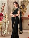 image of Black Designer Indowestern One Minute Fusion Saree In Fancy Fabric With Work