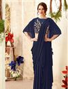 image of Designer Indowestern One Minute Fusion Saree In Navy Blue Fancy Fabric With Work