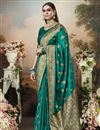 image of Puja Wear Art Silk Fabric Classic Weaving Work Saree In Teal Color