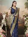 image of Navy Blue Color Puja Wear Art Silk Fabric Classic Weaving Work Saree