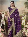 image of Art Silk Fabric Classic Puja Wear Purple Color Weaving Work Saree