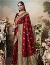 image of Puja Wear Art Silk Fabric Classic Red Color Weaving Work Saree