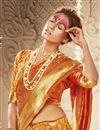 photo of Art Silk Trendy Puja Wear Orange Color Weaving Work Saree
