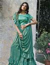 photo of Wedding Wear Designer Light Turquoise Color Embellished Ready To Wear One Minute Saree In Fancy Fabric