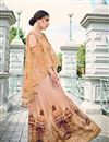 image of Designer Embroidered Net And Santoon Fabric Indo Western Style Party Wear Lehenga Choli In Peach Color