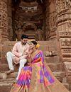 photo of Multi Color Art Silk Puja Wear Fancy Weaving Work Saree