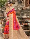 image of Puja Wear Art Silk Fancy Weaving Work Saree In Multi Color