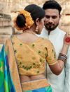 photo of Puja Wear Art Silk Fancy Multi Color Weaving Work Saree