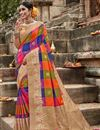 image of Multi Color Puja Wear Fancy Weaving Work Saree In Art Silk