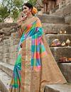 image of Puja Wear Fancy Weaving Work Saree In Multi Color Art Silk
