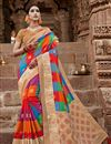 image of Puja Wear Multi Color Art Silk Fancy Weaving Work Saree