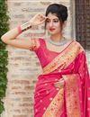 photo of Sangeet Wear Silk Fabric Classy Rani Color Weaving Work Saree