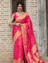 image of Sangeet Wear Silk Fabric Classy Rani Color Weaving Work Saree