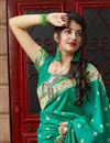 photo of Sangeet Wear Teal Color Classy Weaving Work Saree In Silk Fabric