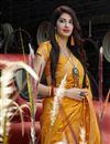 photo of Mustard Color Sangeet Wear Silk Fabric Alluring Weaving Work Saree