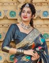 photo of Grey Color Sangeet Wear Silk Fabric Alluring Weaving Work Saree