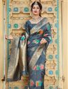 image of Grey Color Sangeet Wear Silk Fabric Alluring Weaving Work Saree