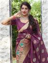 photo of Wine Color Alluring Sangeet Wear Silk Fabric Weaving Work Saree