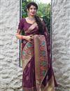 image of Wine Color Alluring Sangeet Wear Silk Fabric Weaving Work Saree
