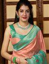 photo of Sangeet Wear Peach Color Alluring Weaving Work Saree In Silk Fabric