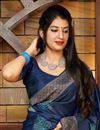 photo of Sangeet Wear Silk Fabric Alluring Navy Blue Color Weaving Work Saree