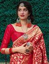 photo of Red Color Sangeet Wear Silk Fabric Elegant Weaving Work Saree