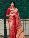 image of Red Color Sangeet Wear Silk Fabric Elegant Weaving Work Saree