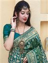 photo of Silk Fabric Sangeet Wear Elegant Teal Color Weaving Work Saree