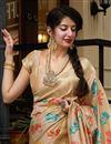 photo of Silk Fabric Sangeet Wear Beige Color Elegant Weaving Work Saree