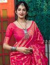 photo of Sangeet Wear Rani Color Elegant Weaving Work Saree In Silk Fabric