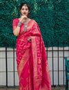 image of Sangeet Wear Rani Color Elegant Weaving Work Saree In Silk Fabric