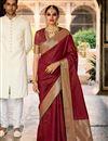 image of Art Silk Fabric Maroon Color Sangeet Wear Designer Weaving Work Saree