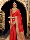 image of Red Color Art Silk Fabric Stylish Weaving Work Function Wear Saree