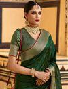 photo of Art Silk Fabric Dark Green Color Fancy Weaving Work Festive Wear Saree