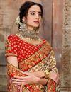 photo of Patola Silk Fabric Function Wear Cream Color Saree