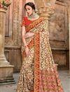 image of Patola Silk Fabric Function Wear Cream Color Saree