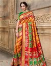 image of Orange Color Patola Silk Fabric Saree