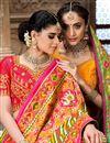 photo of Pink Color Designer Saree In Patola Silk Fabric