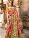 image of Pink Color Designer Saree In Patola Silk Fabric